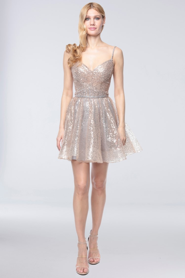 Girl in short gold and silver glitter homecoming dress