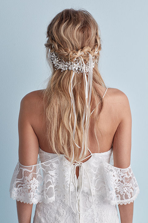 Braided half-up wedding hairstyle