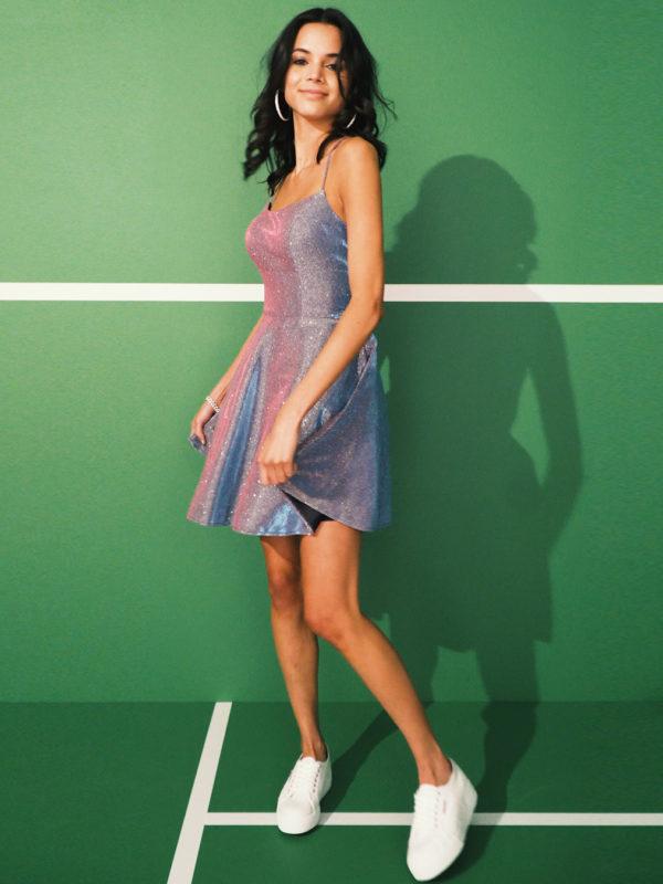 Girl in short homecoming dress