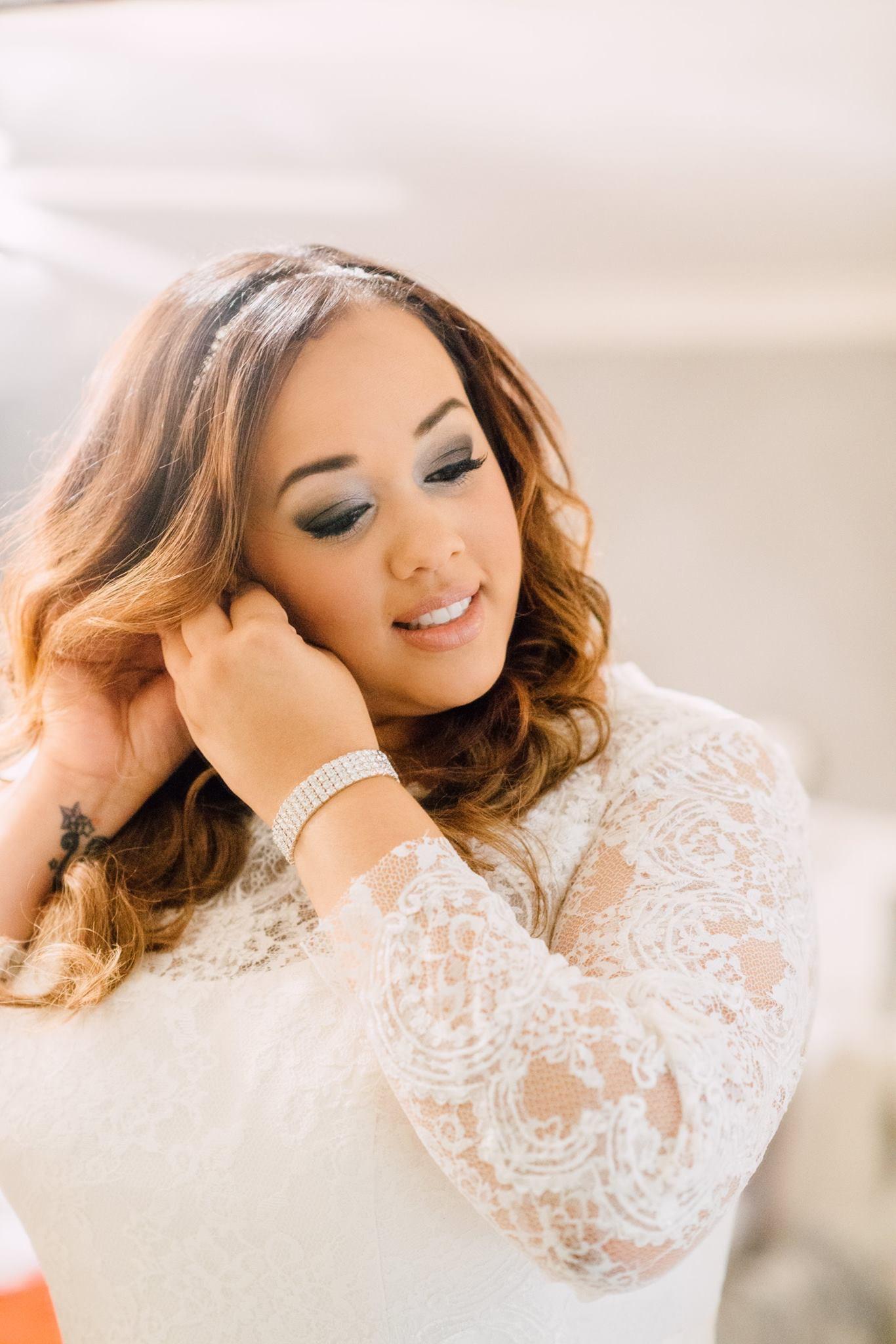 Bride Courtney getting ready