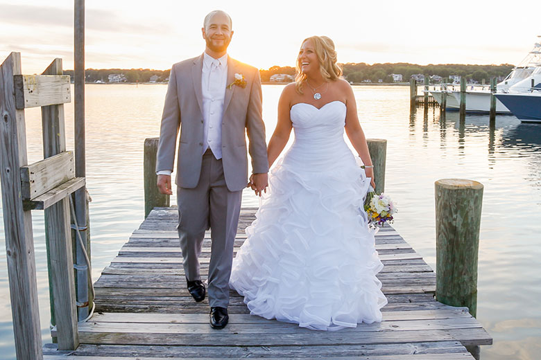 Bride and Groom at Sunset on Dock