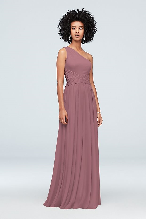 bridesmaid in long pink dress with one shoulder
