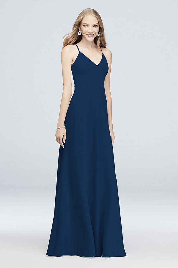 bridesmaid in long blue dress with spaghetti straps