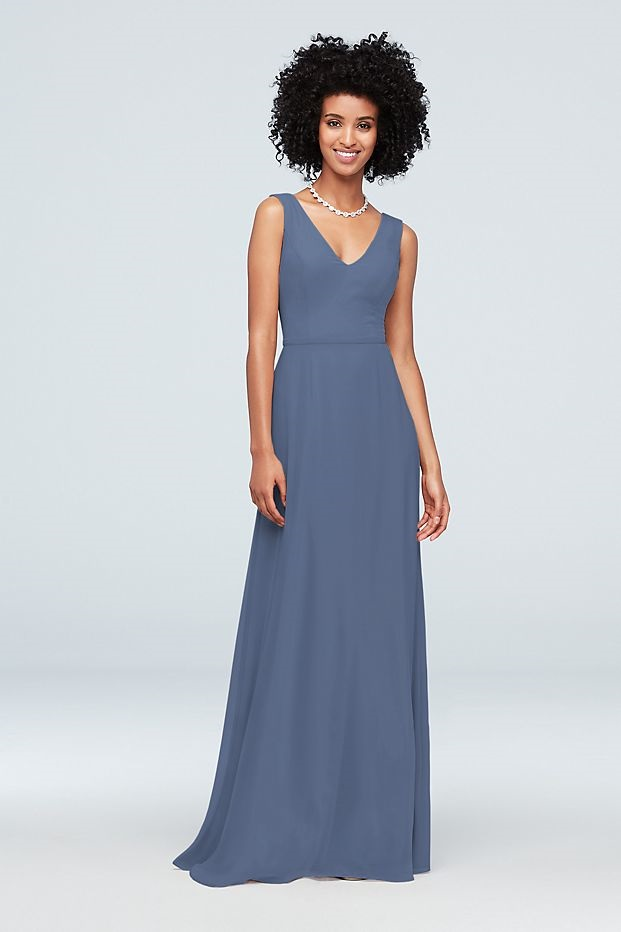bridesmaid in long blue dress with tank style top