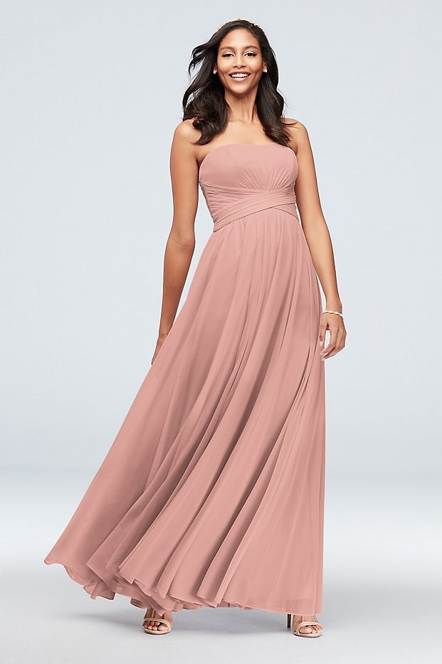 bridesmaid in long pink strapless dress