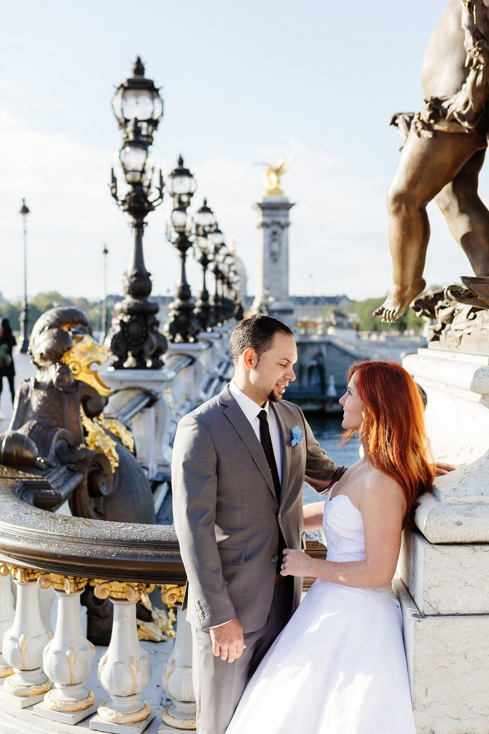 Real Bride and Groom in Paris