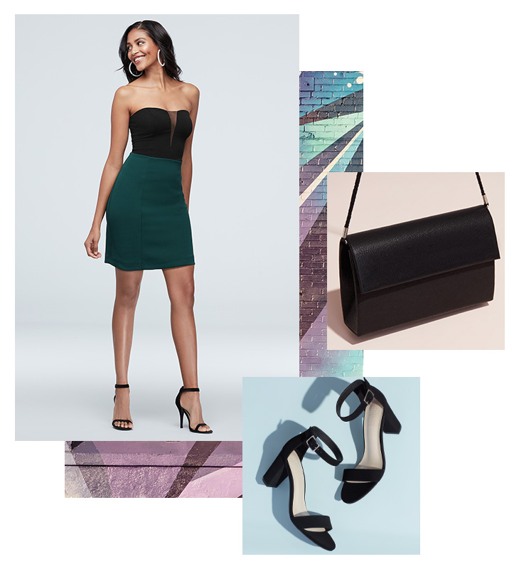 Collage of green and black short formal dress, black bag and heels