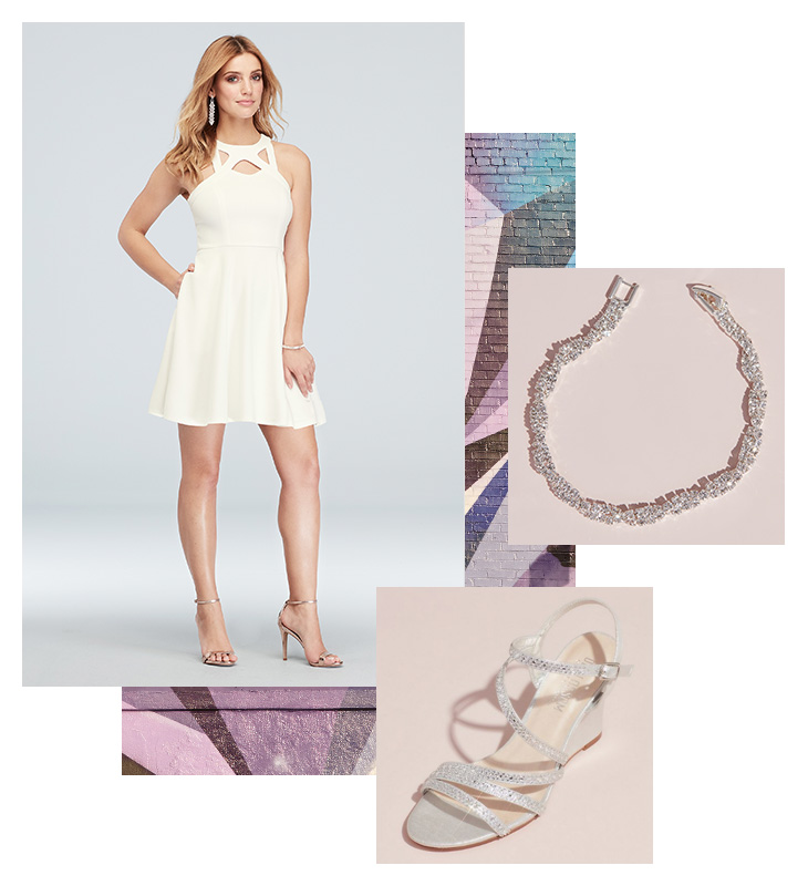 Collage of little white dress for graduation, silver shoes, and bracelet