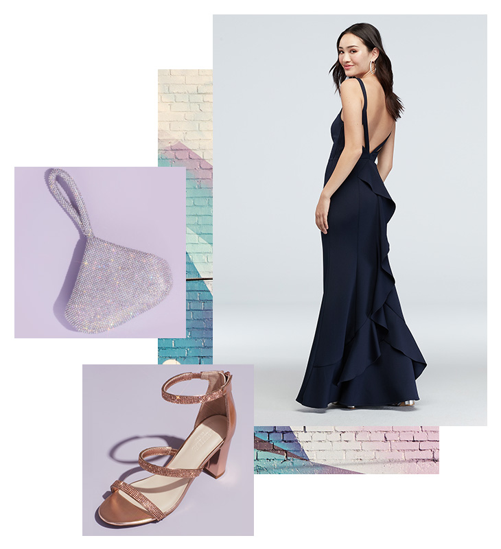 Collage of long navy dress for military balls, silver clutch, and shoe