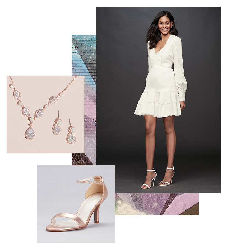 Collage of little white dress with long sleeves for sorority events, gold jewelry and heels
