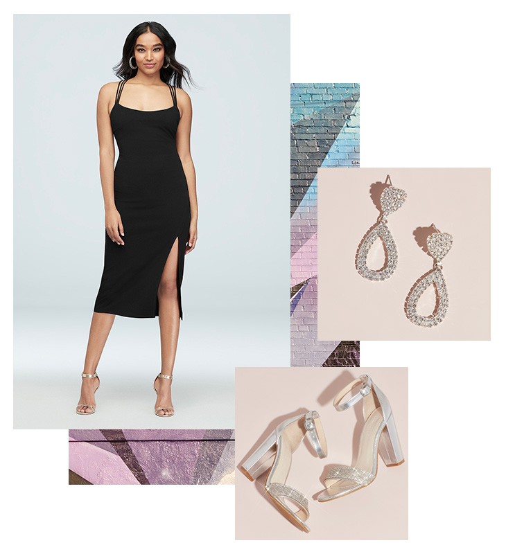 Collage of little black dress for weddings, silver earrings and shoe