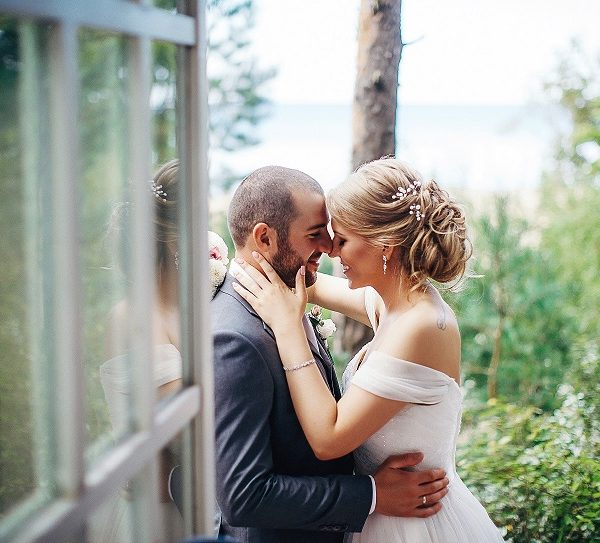 Real Bride Anna and groom Levan share a first look moment