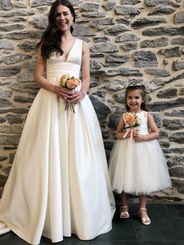Matching flower girl and wedding dresses
