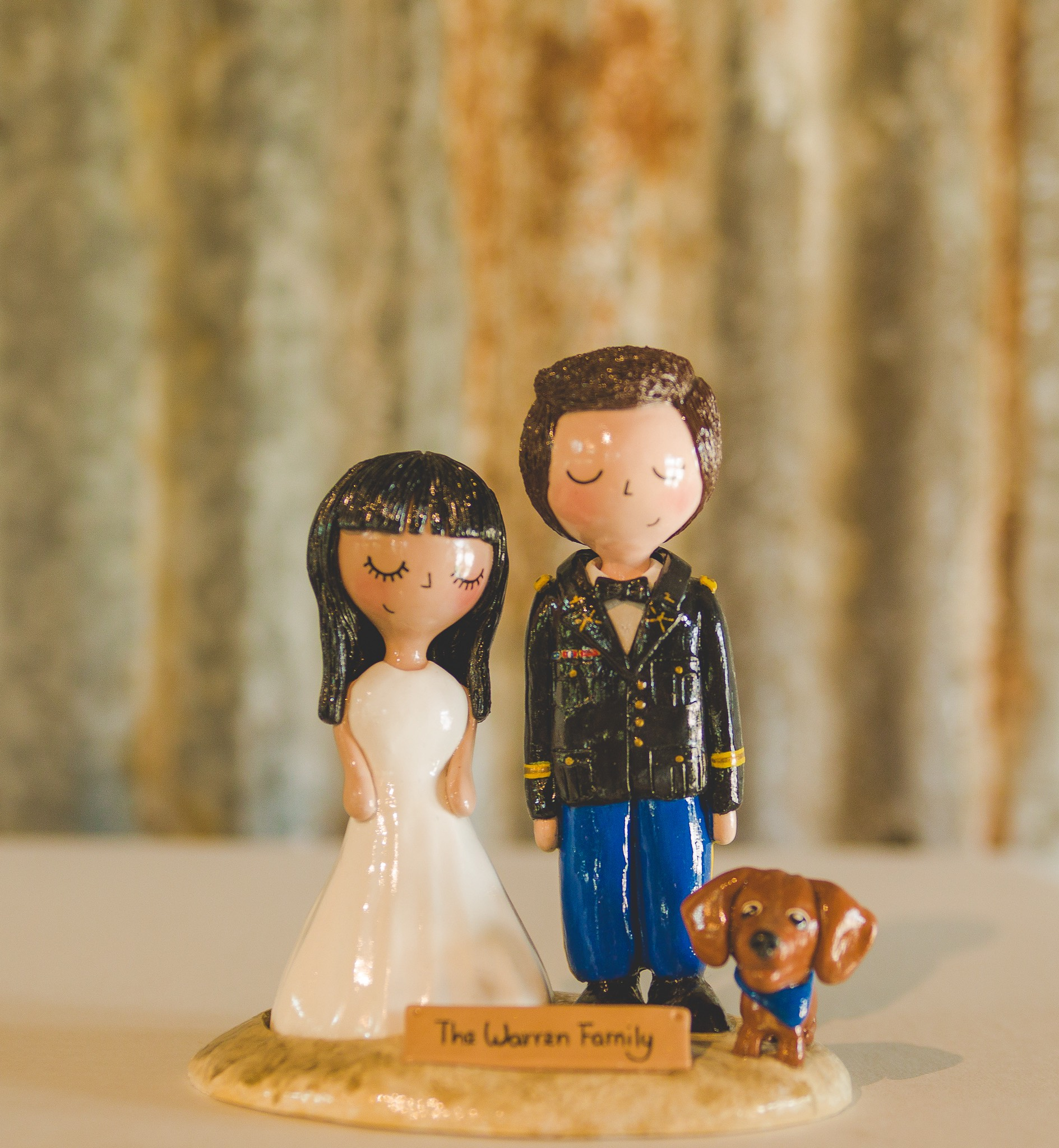 Bride, Groom, and Puppy Cake Topper