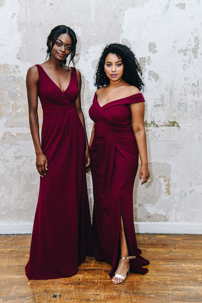 bridesmaids in wine color floor length bridesmaid dress.