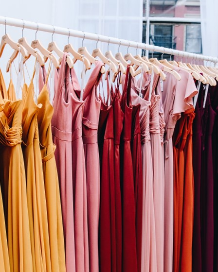 Bridesmaid dresses on a rack