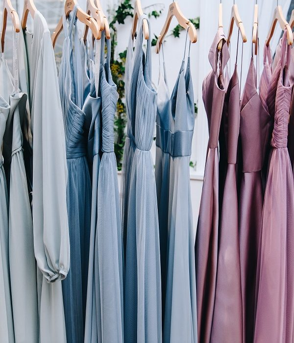 spring 2020 new bridesmaids dresses on rack