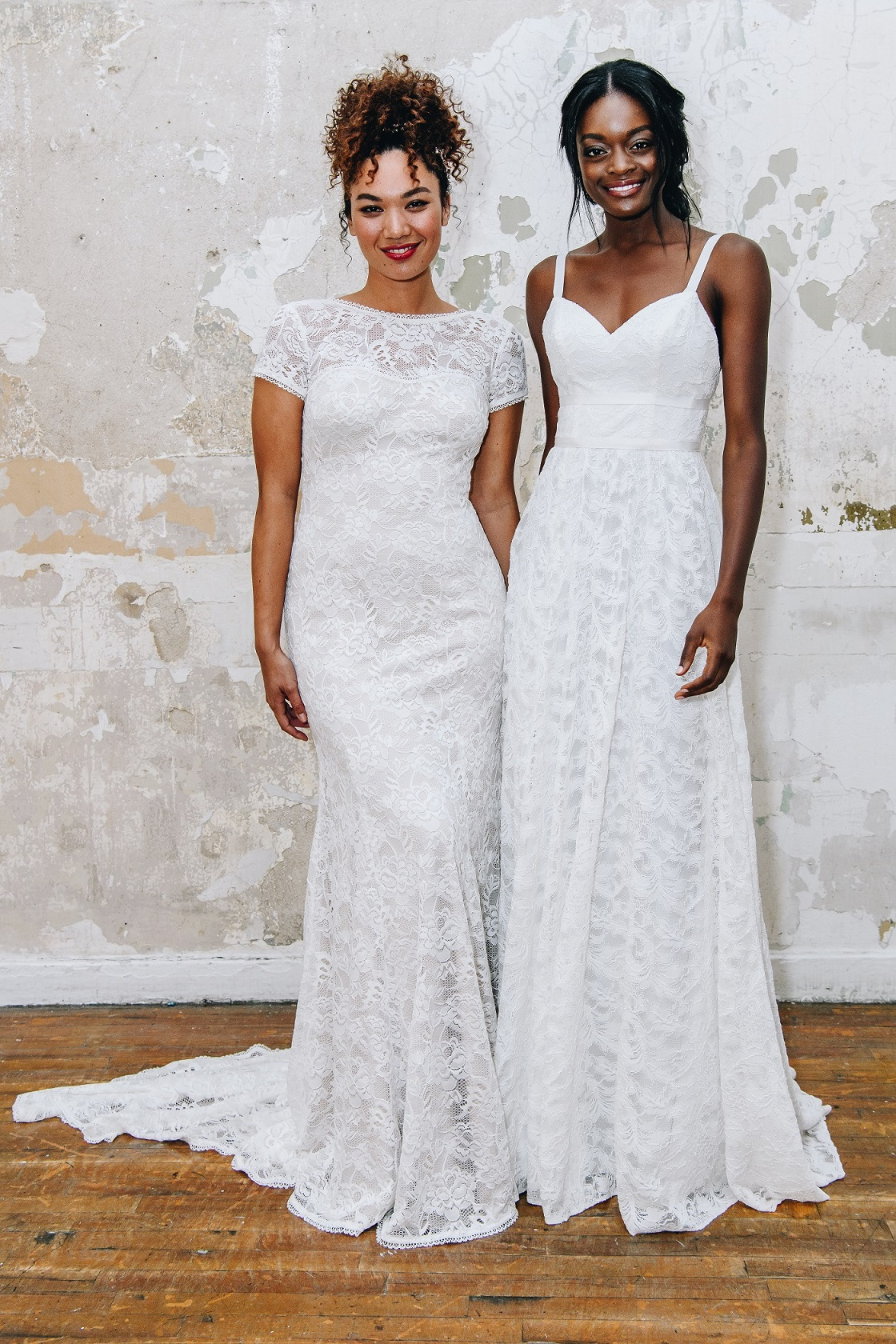 Brides in long easy to wear wedding dresses with destination weddings