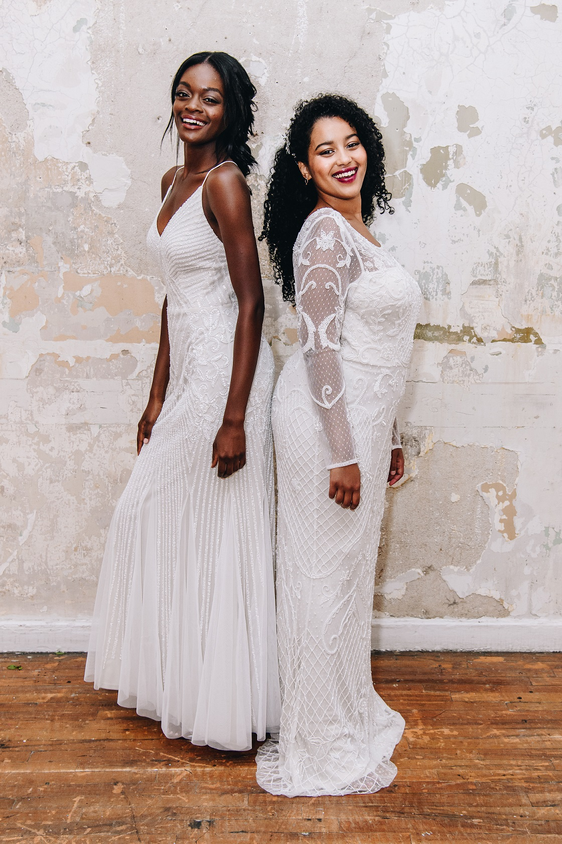 Brides in long beaded wedding dresses