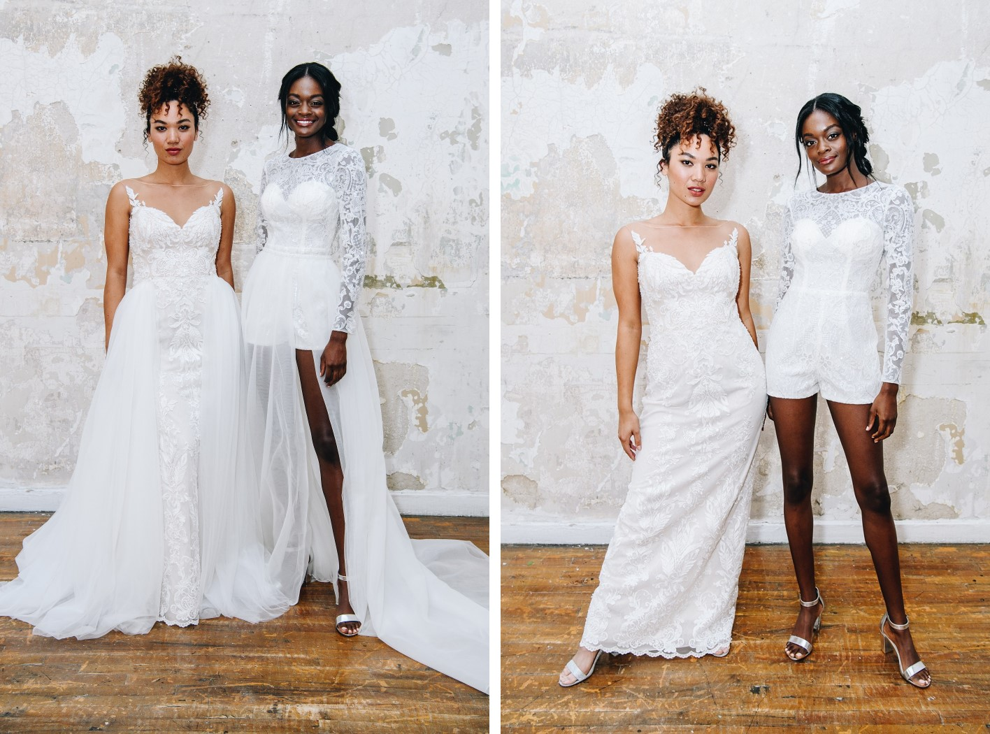 Brides in wedding dresses with removable skirts