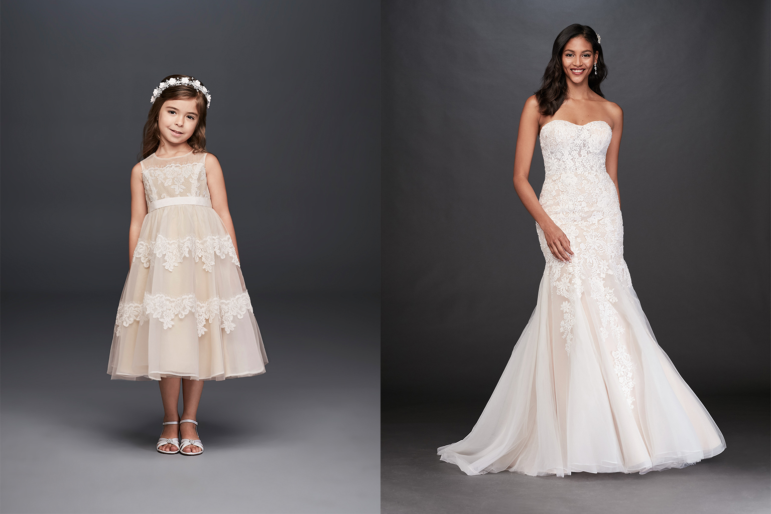 Champagne Hue Flower girl and bridal style