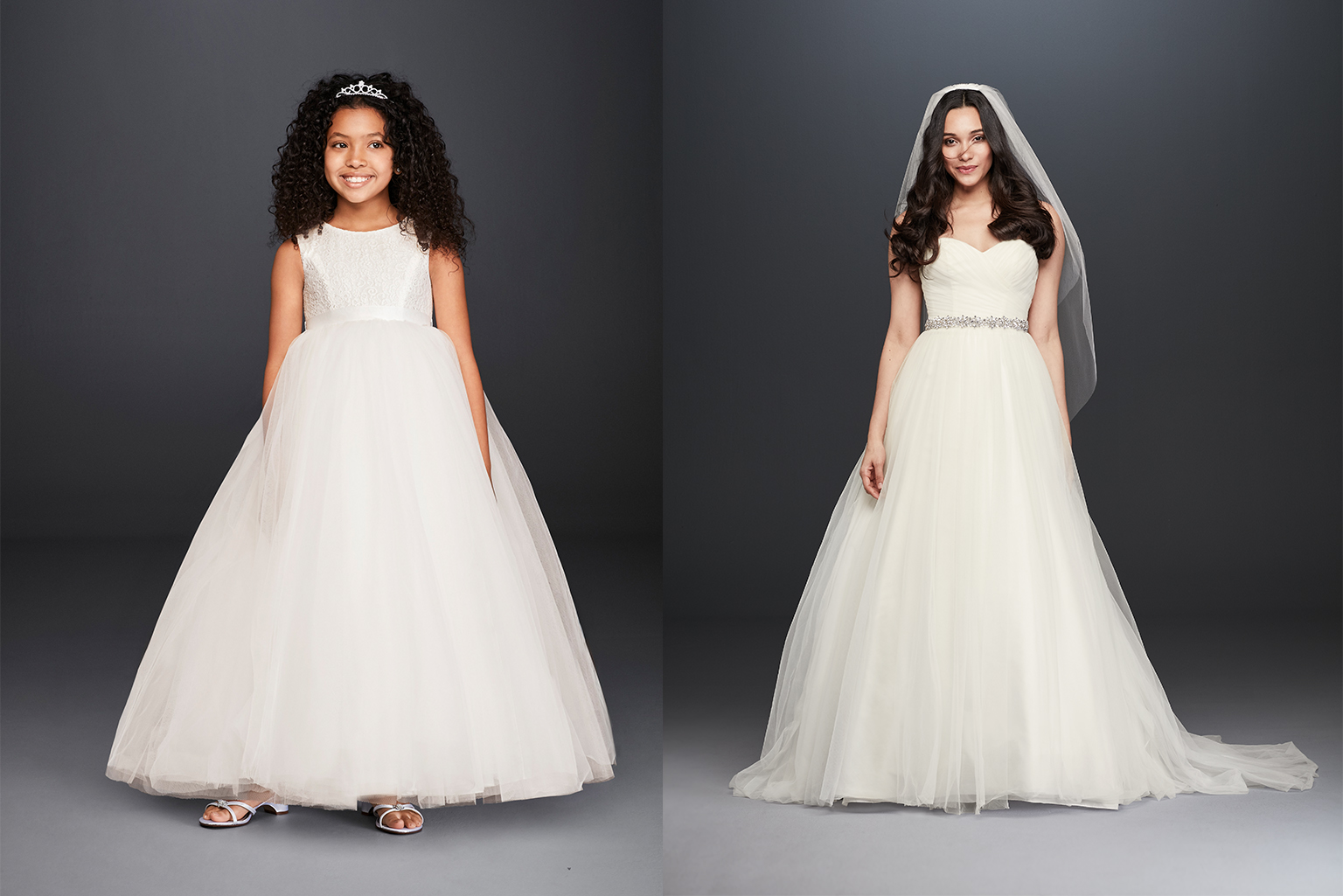 Classic flower girl and bridal gown