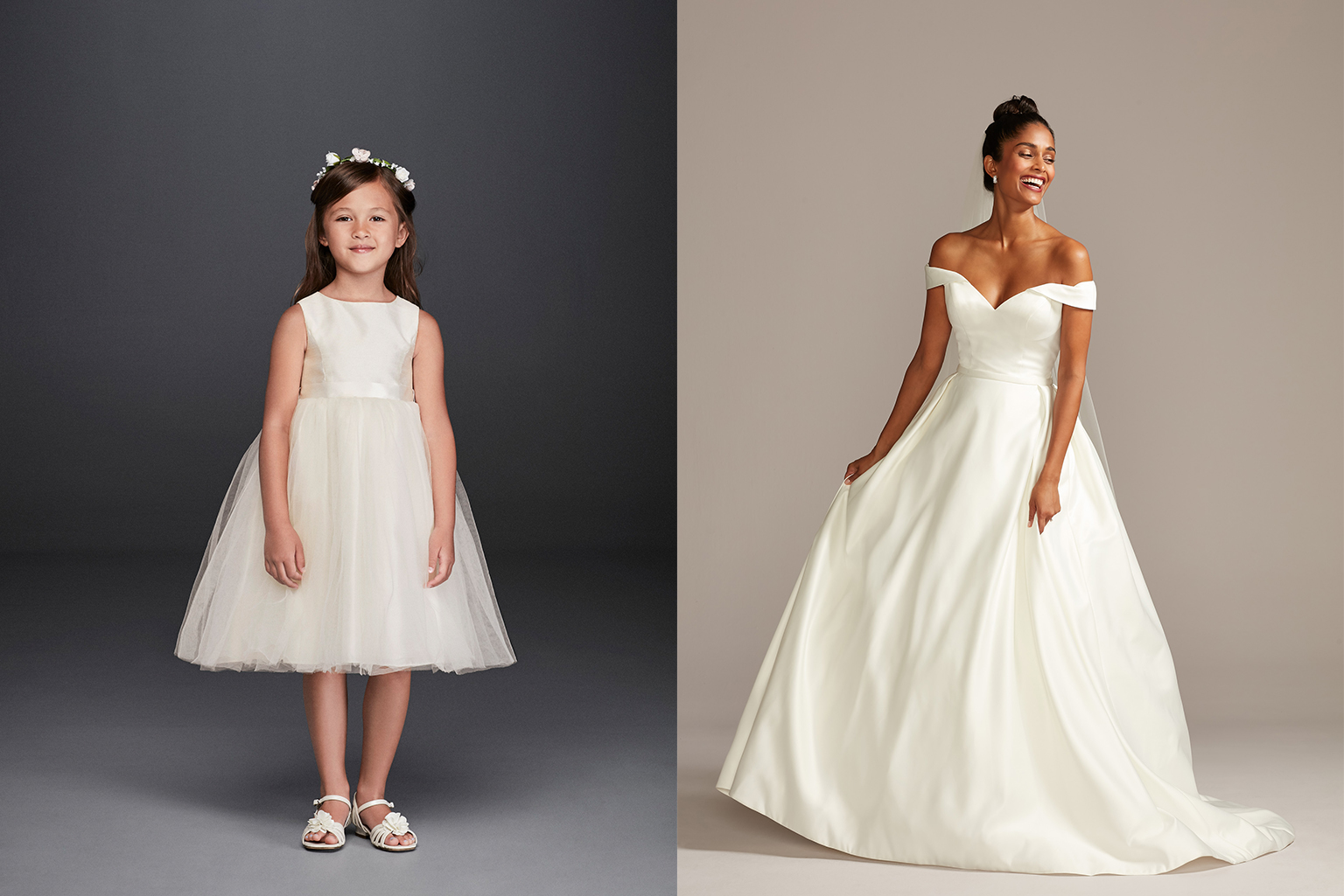 Clean and Modern flower girl and bridal dresses