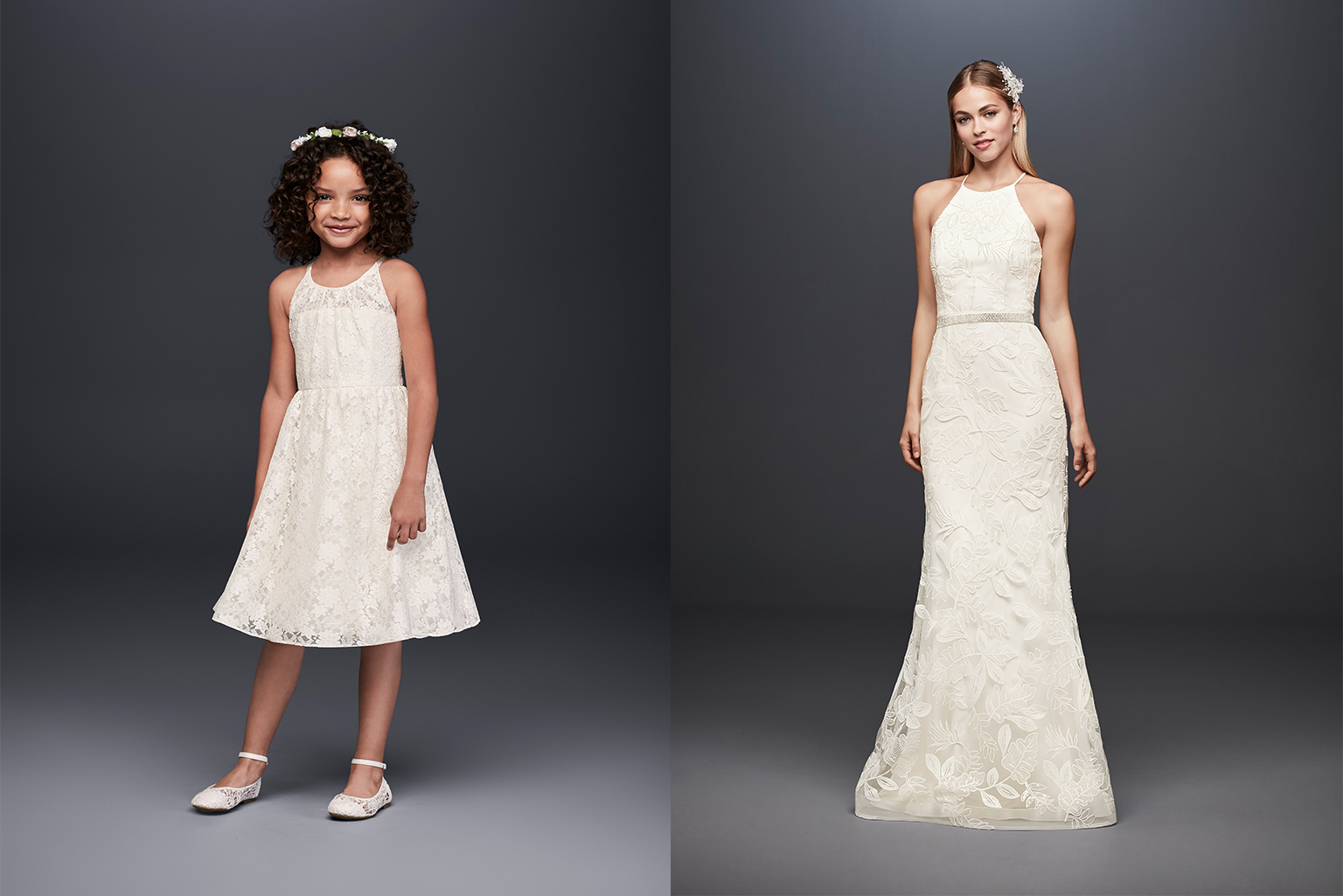 Lace flower girl and bridal style