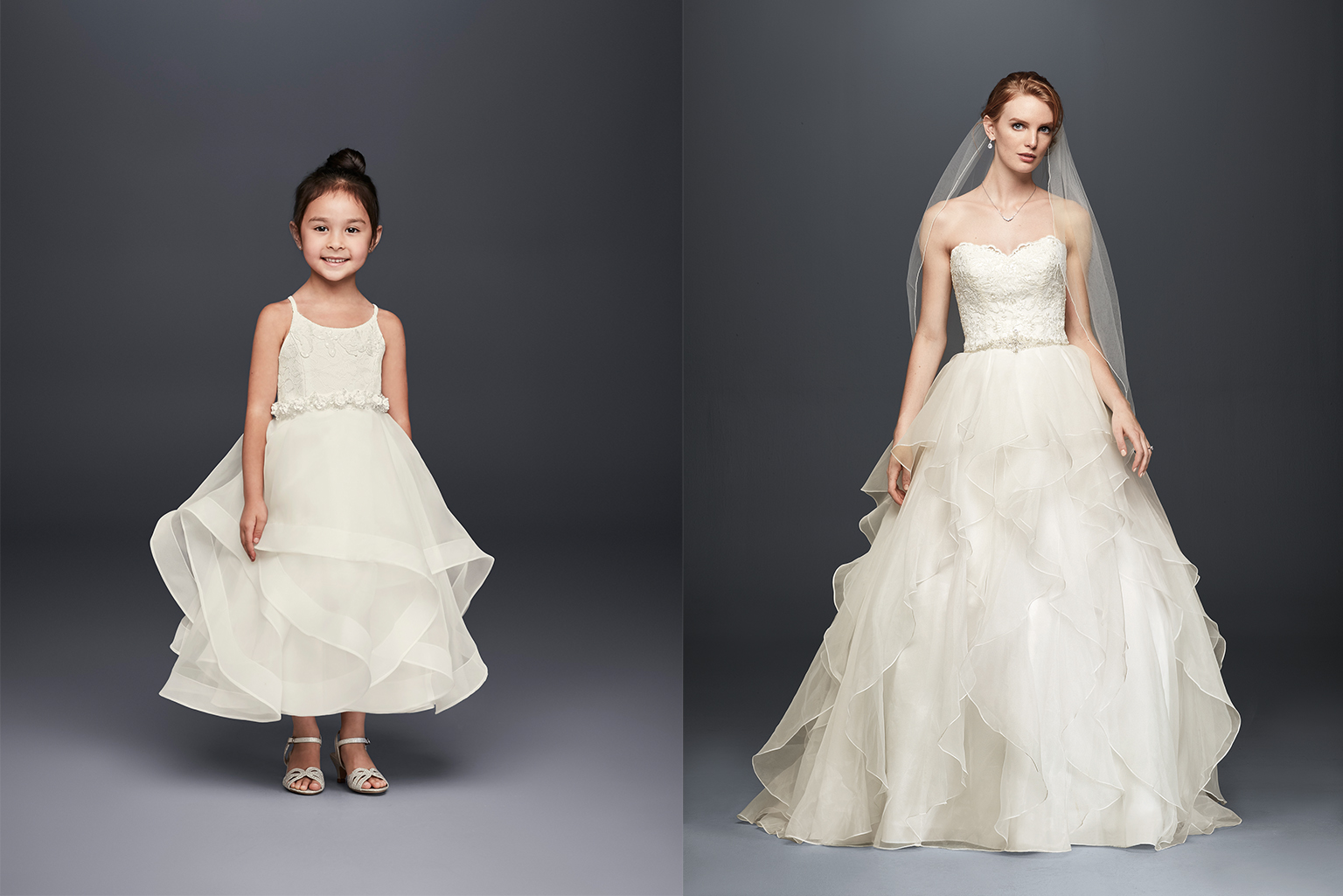 Ruffle Flower Girl and Bridal Gown