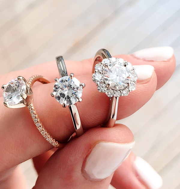 Engagement Rings on finger
