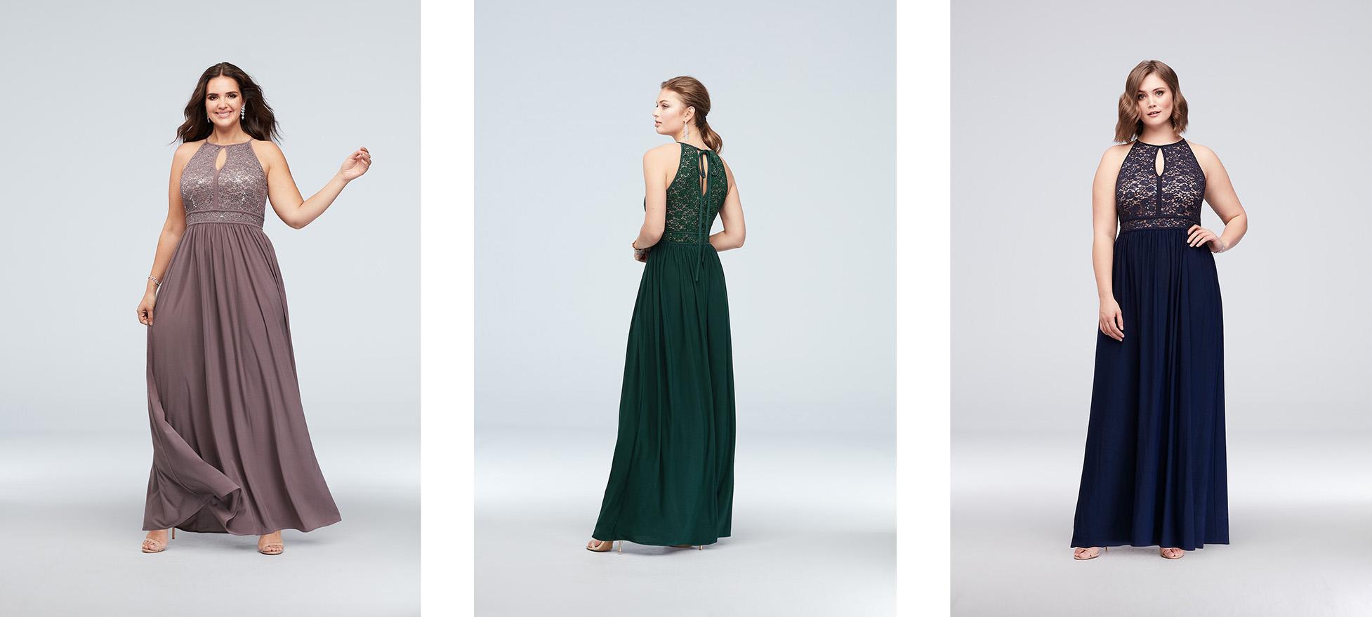 Three high-neck occasion dresses