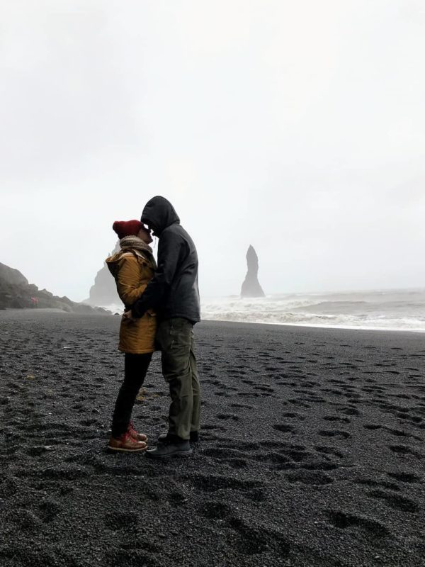 Man proposing to woman in a romantic proposal in Iceland