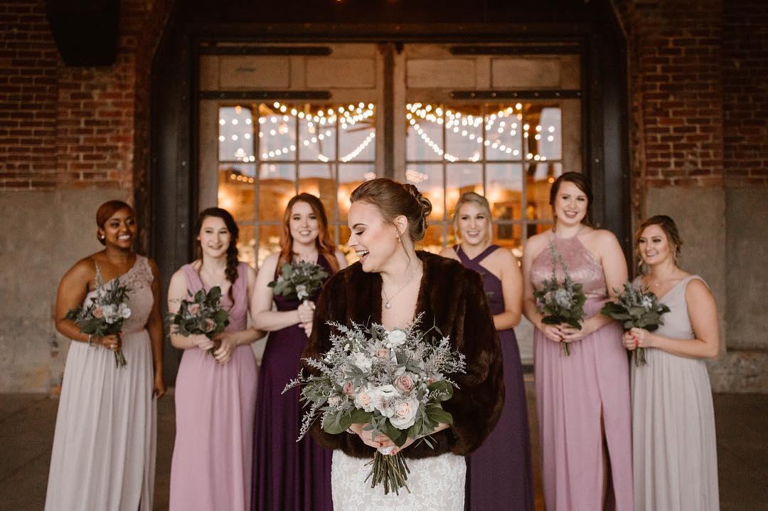 Winter bride with bridesmaids