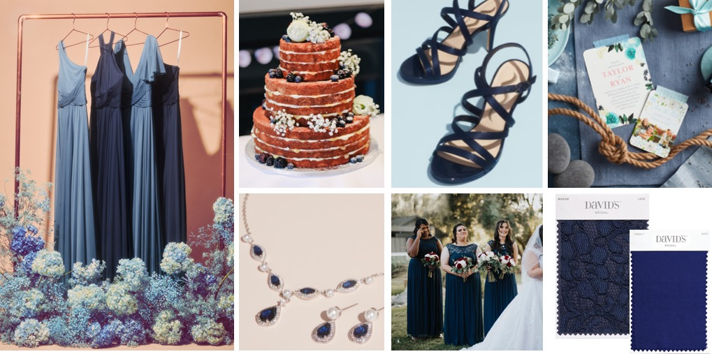Collage of blue bridesmaid dresses, wedding cake, bridal jewelry, shoes, and fabric swatches