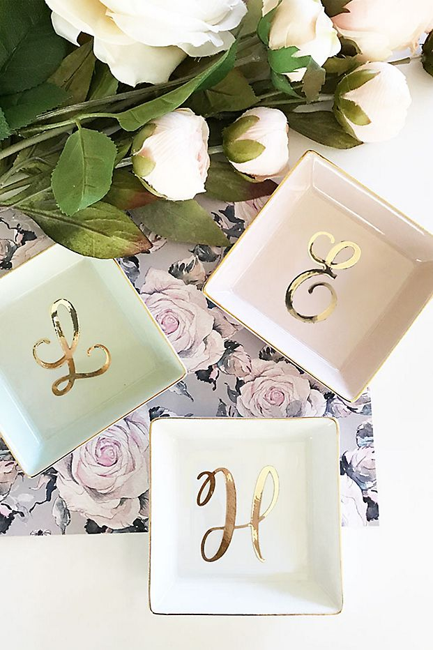 Square ring dishes with initials