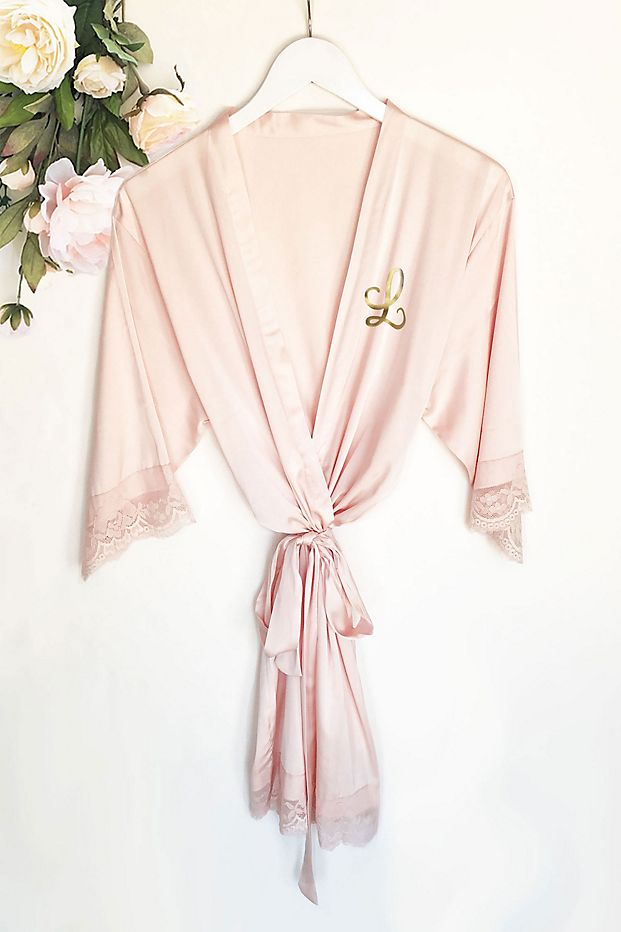 Personalized pink bridal party robe