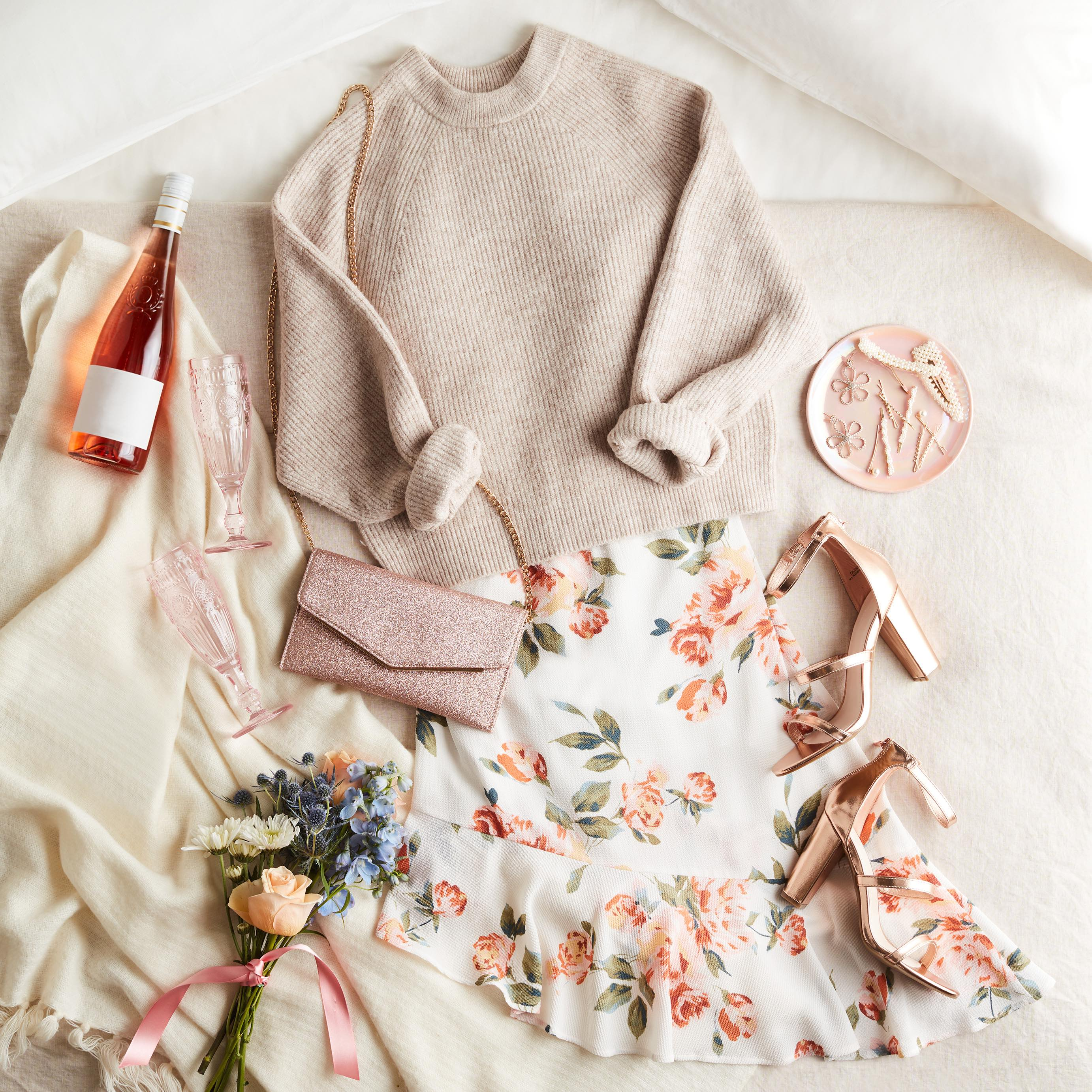 floral dress and sweater date night outfit