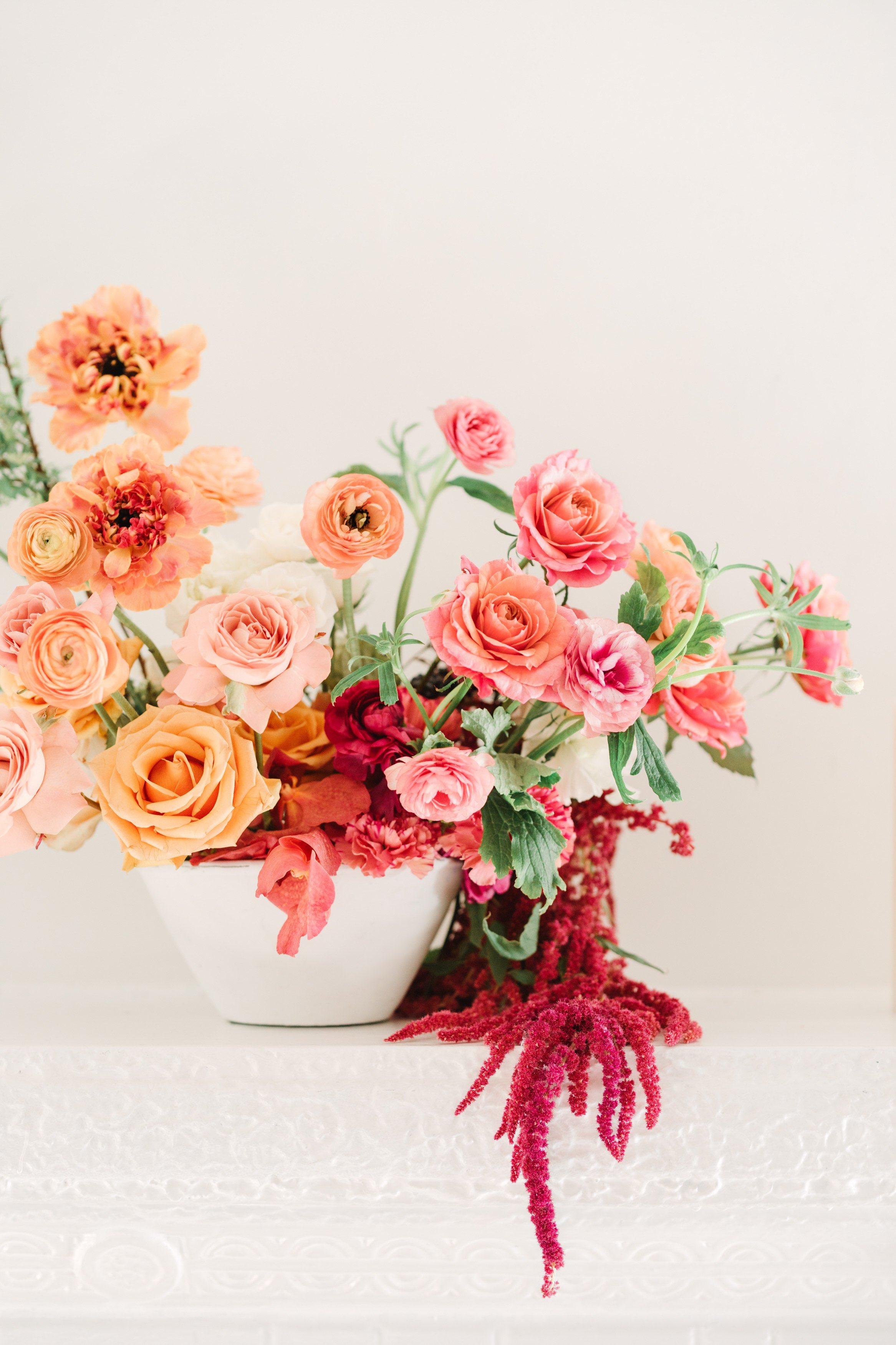 Orange and pink flower arrangement