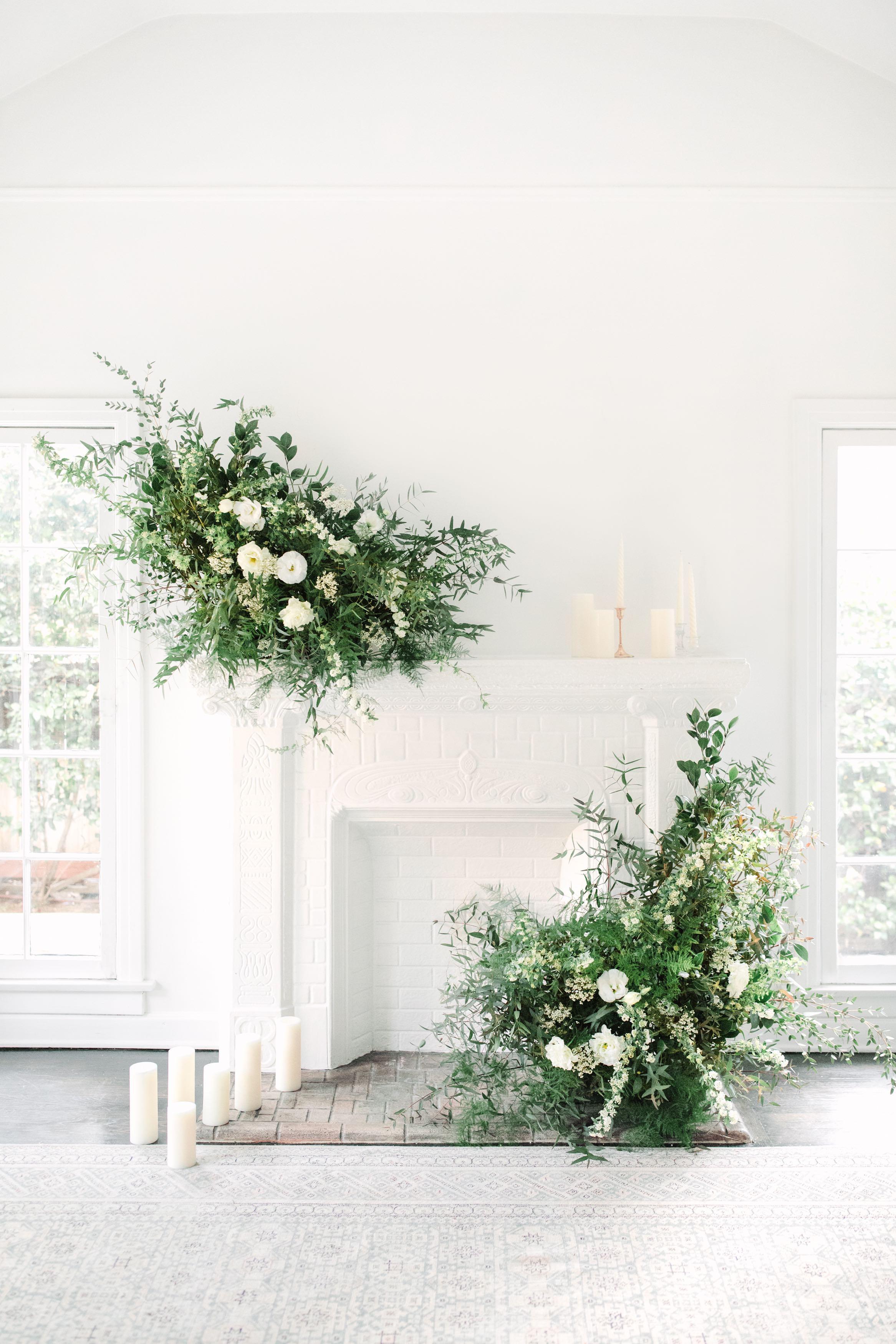 Flower arrangements on mantel