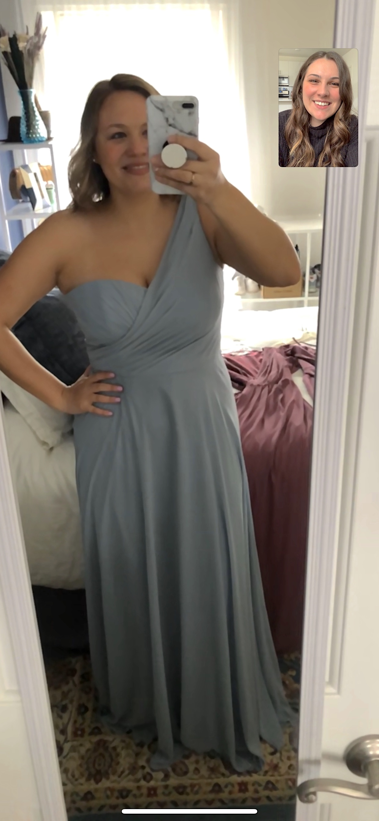 Girl in long dress on video chat