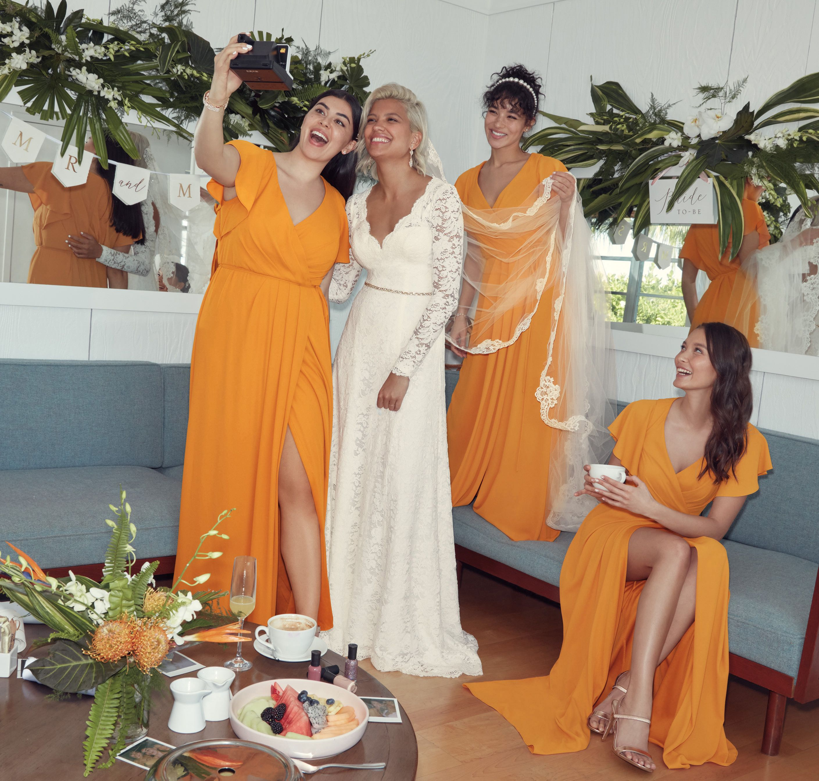 Bride and Maids in Marigold