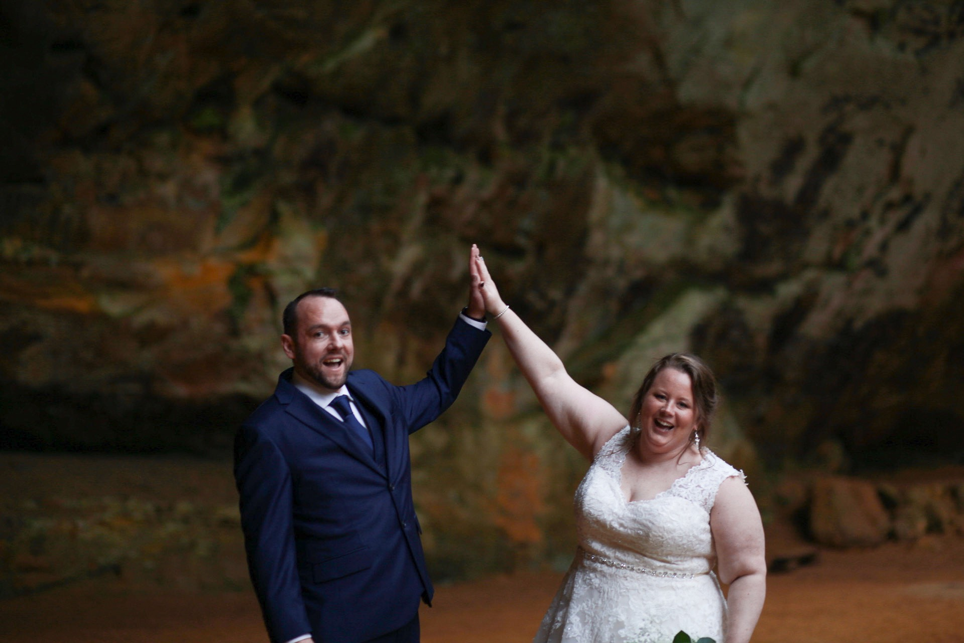Bride and Groom High Fiving