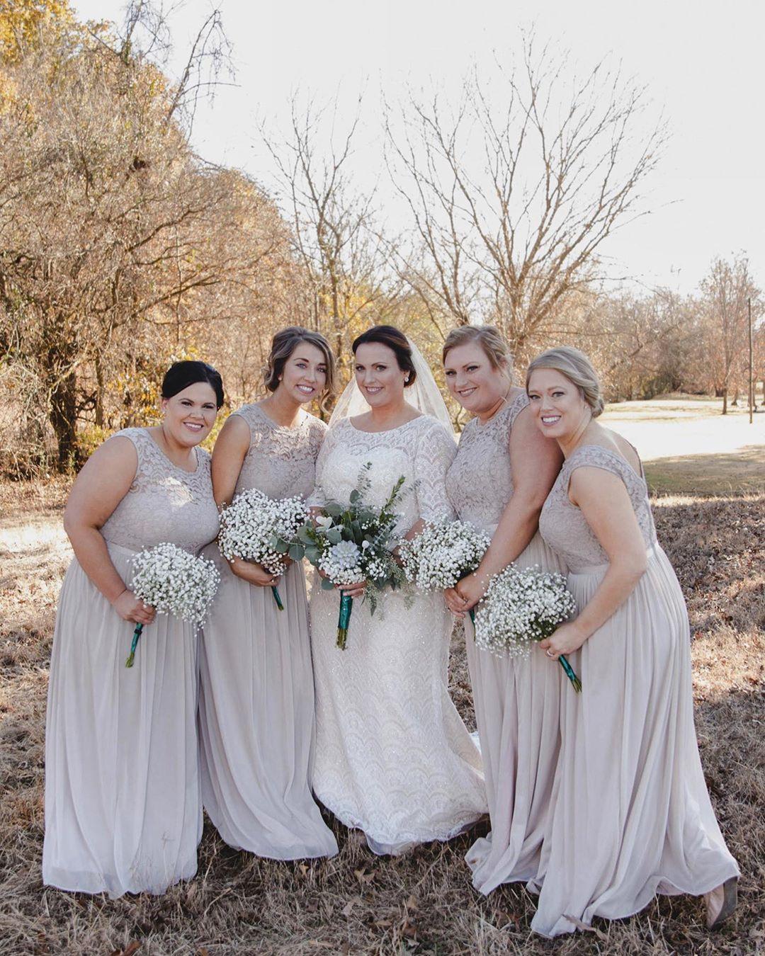 Bridesmaids in tan bridesmaid dresses