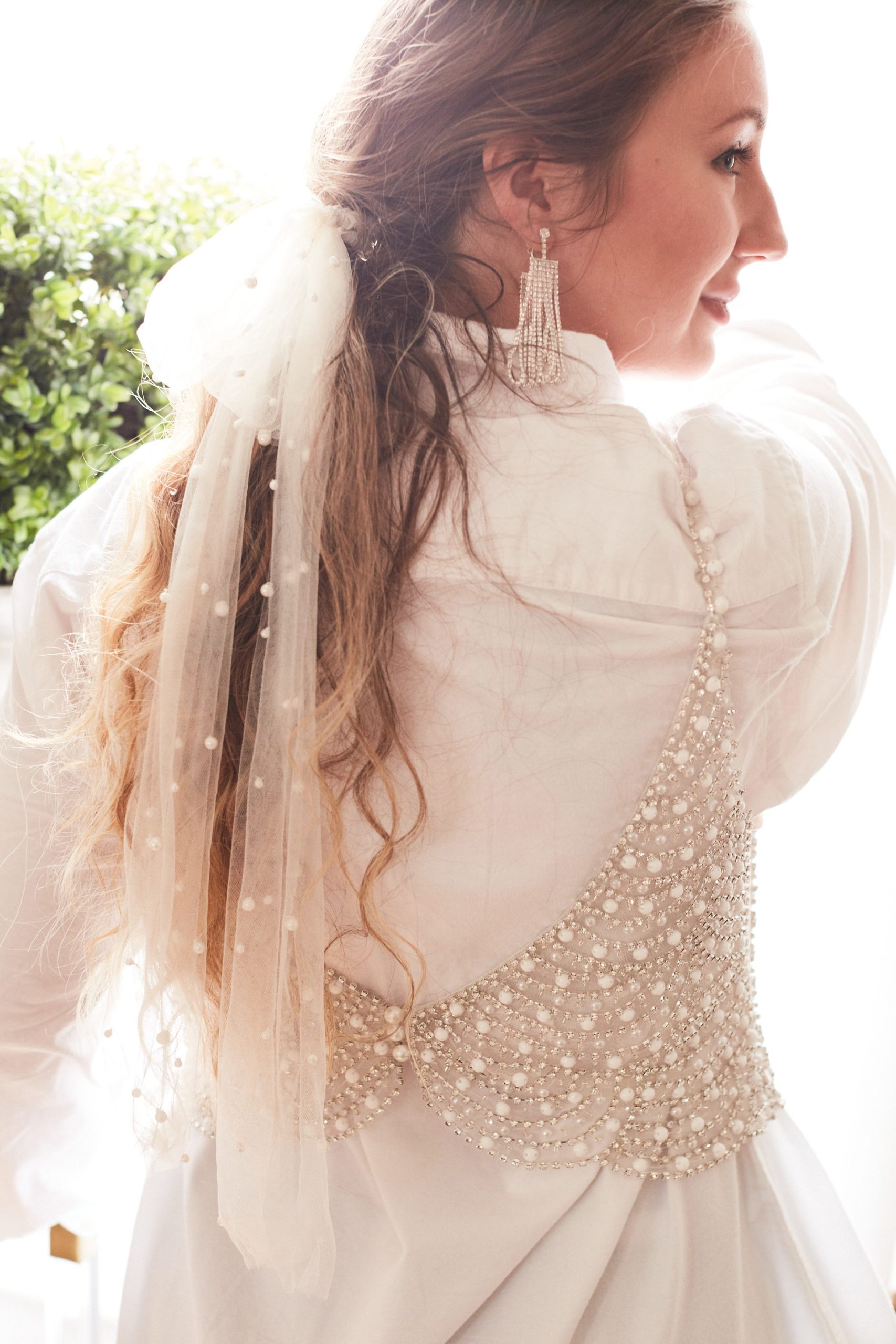 Bridal Top layered over button down