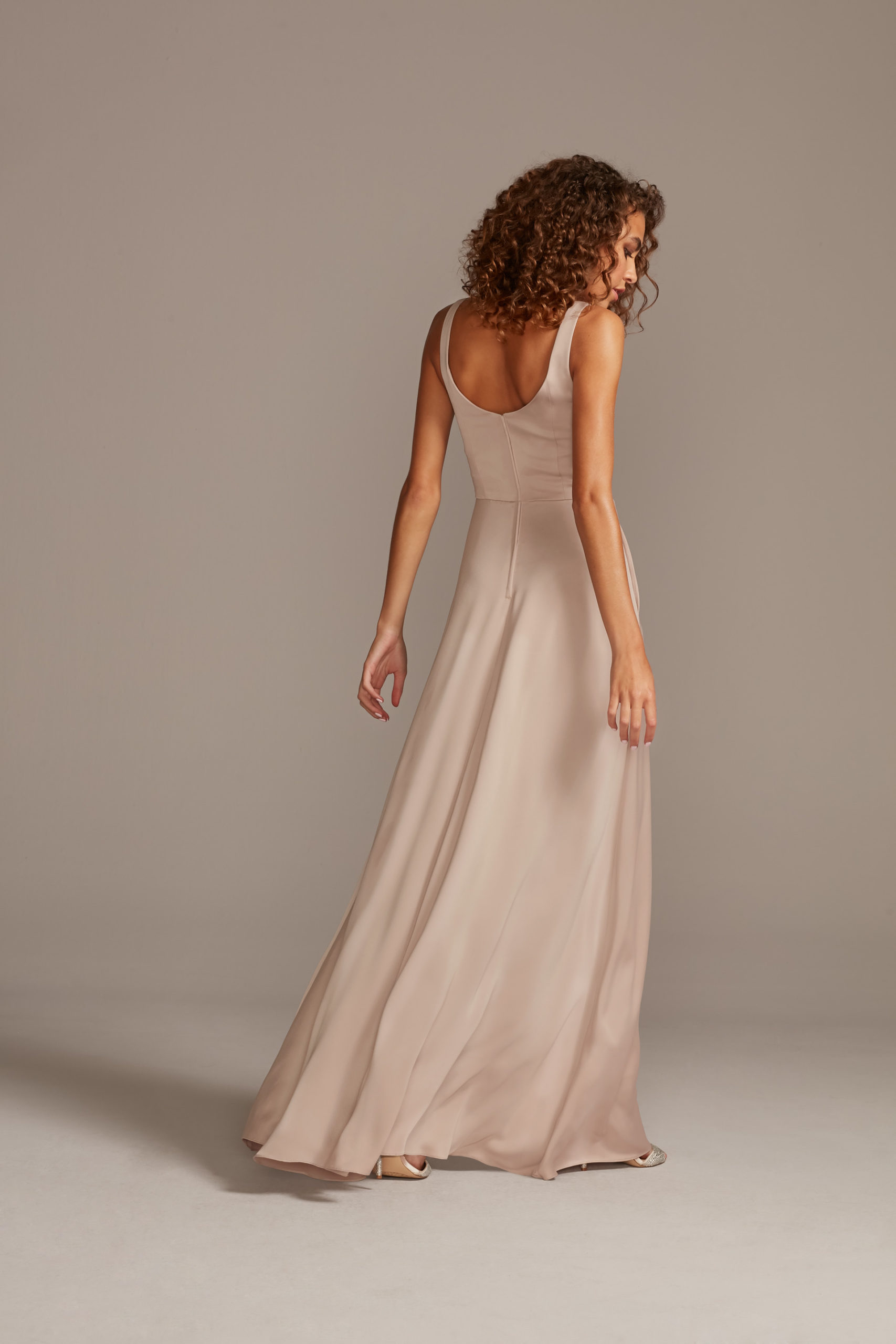 Scoop Neck Satin Bridesmaid Dress