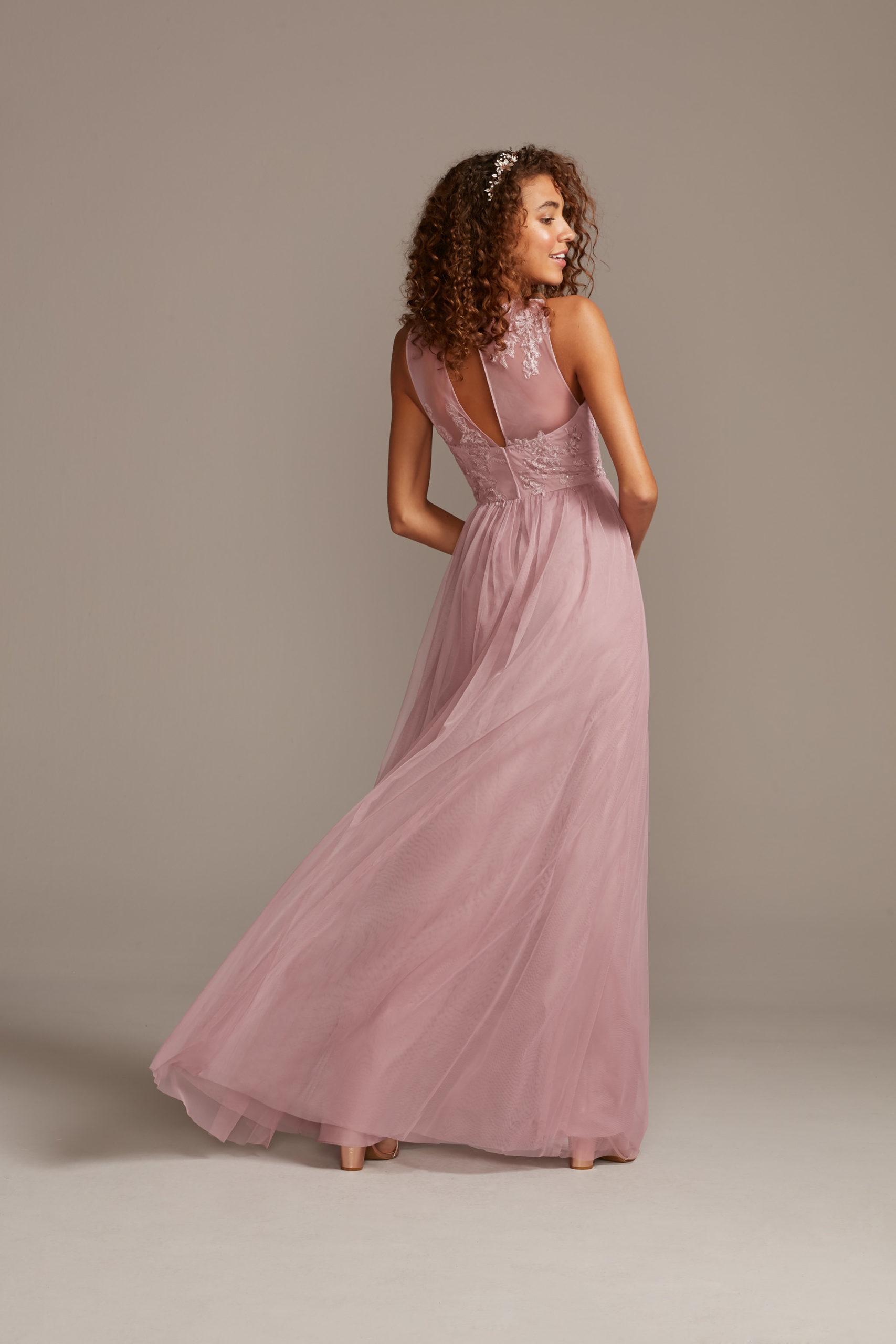 Floral Illusion Neckline Bridesmaid Gown