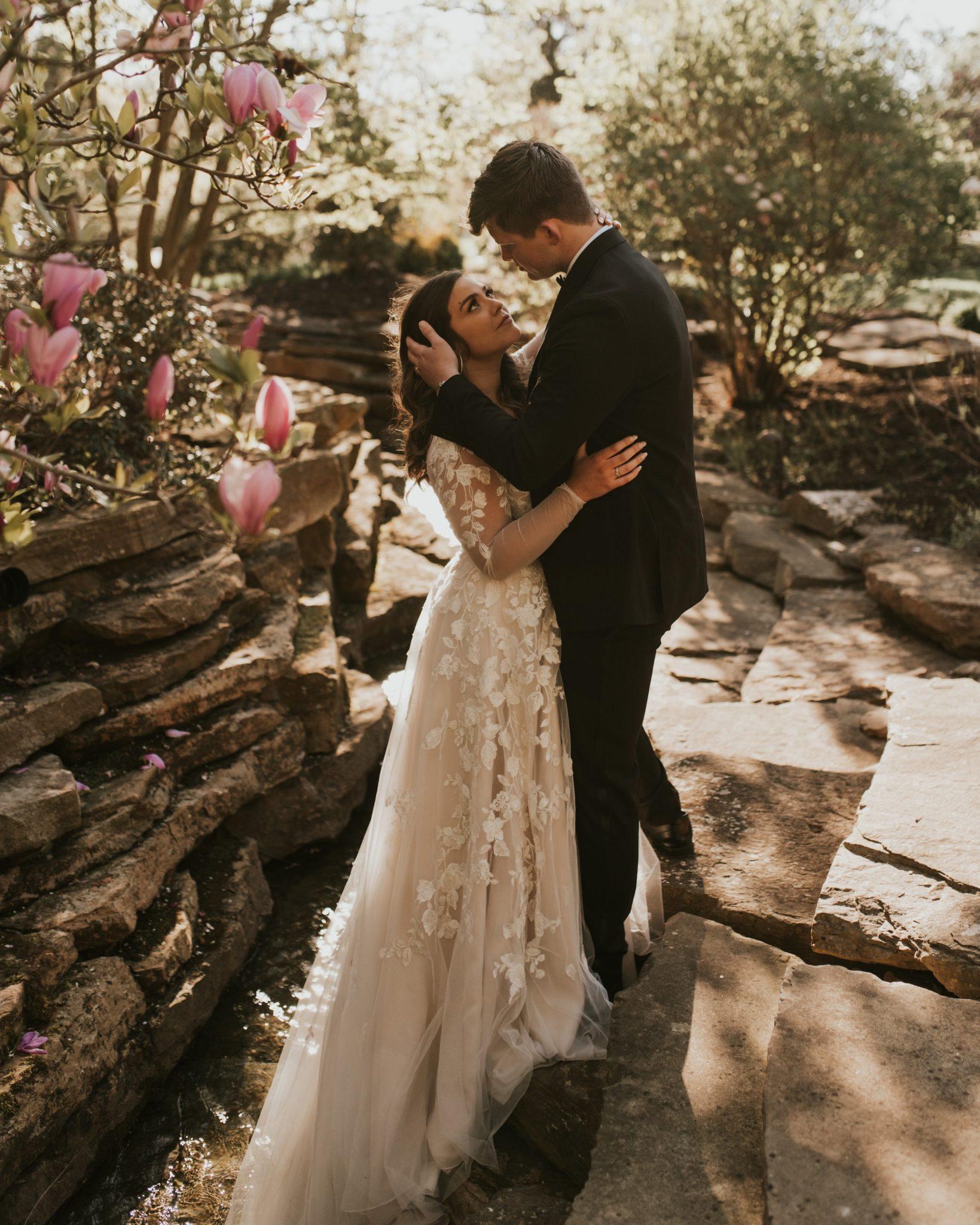 Bride and Groom embracing after wedding
