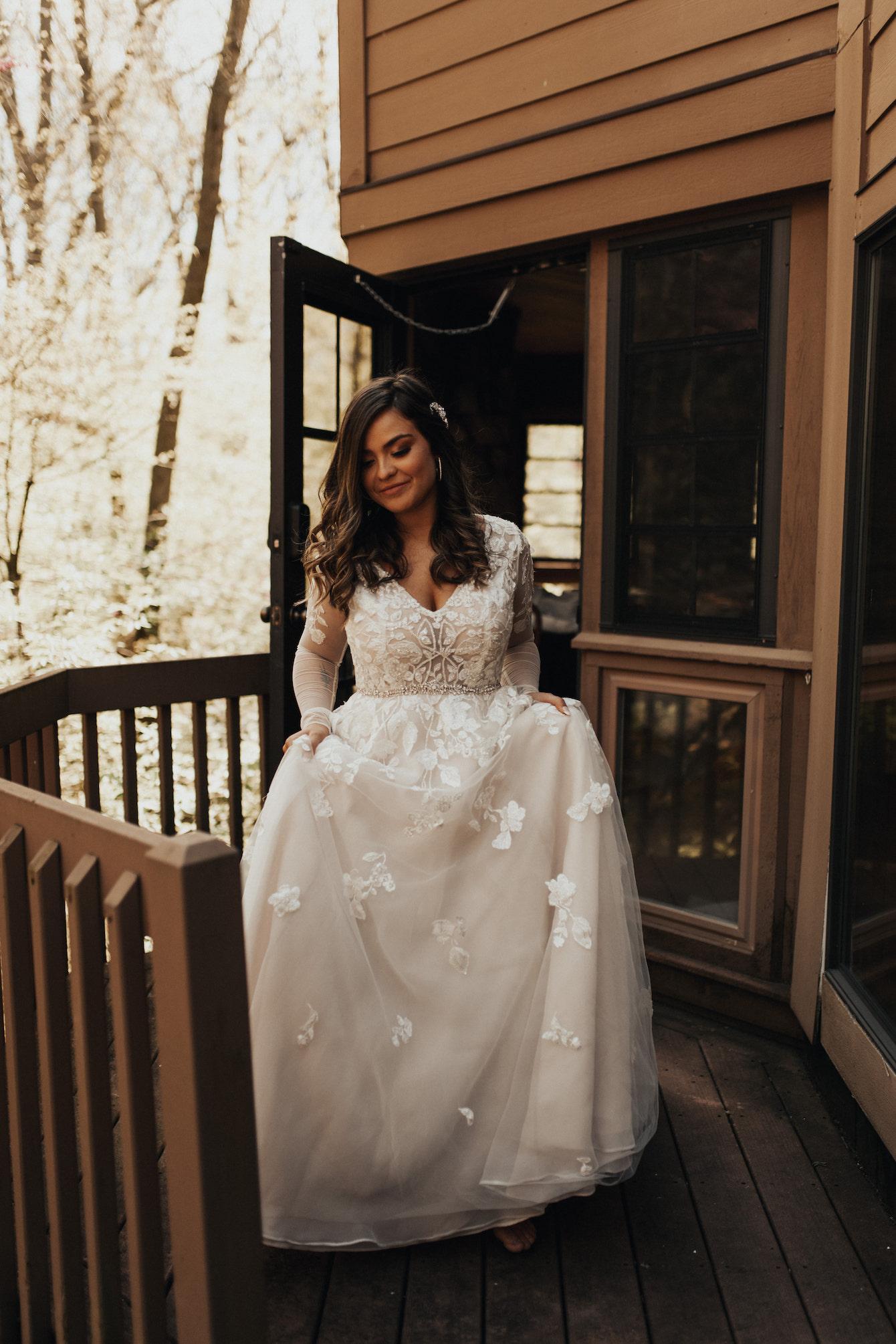 Solo bride shot leaving the house