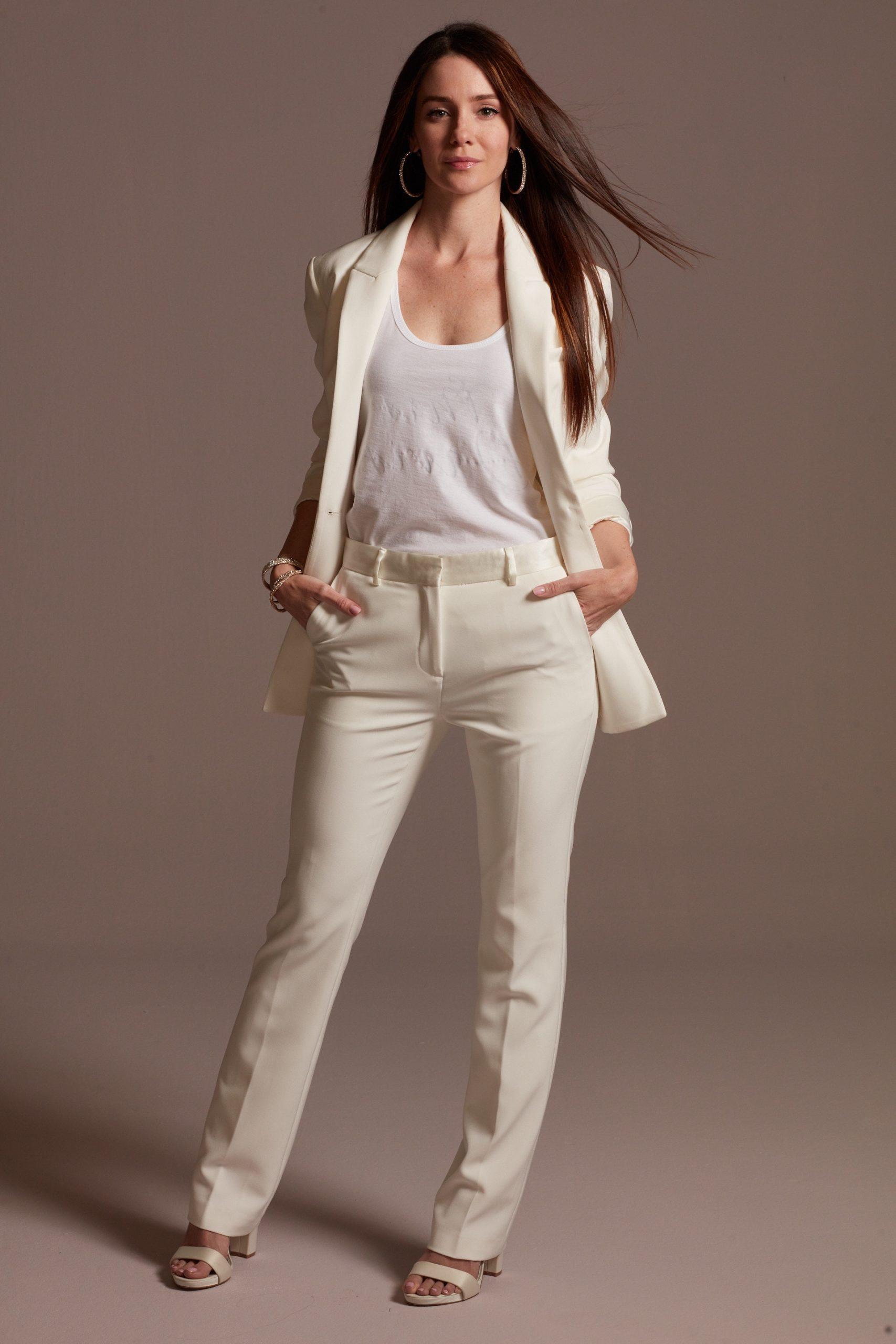 Pantalon de mariée blanc de style décontracté