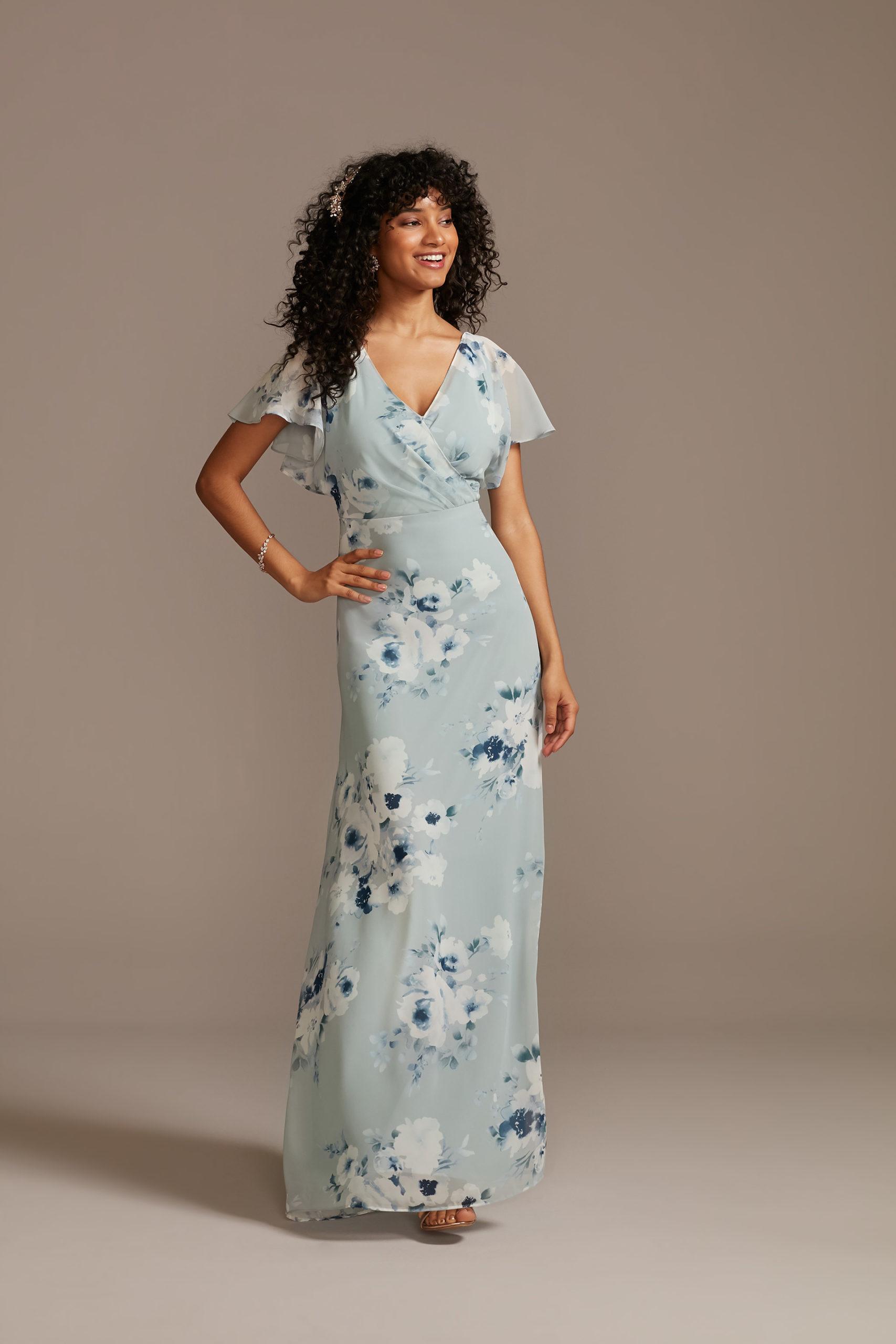 Floral Flutter Sleeve Gown